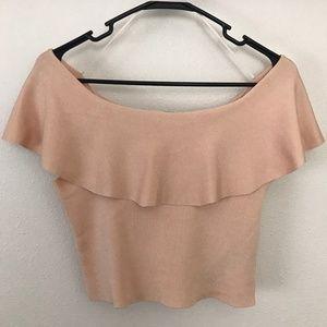 Zara Off The Shoulder Peach Ruffled Crop Top
